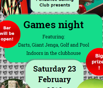 Games night: 19:30 Saturday 23 February 2019